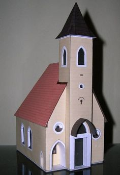 This building paper model is the Kaplnka sv. Anny Mojš, a Church in Slovakia, the papercraft is created by Vrso, and the scale is in You can downloa Christmas Village Houses, Putz Houses, Christmas Villages, Bird Houses, Clay Houses, Cardboard Box Houses, Paper Houses, Cardboard Crafts, Paper Crafts