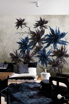 WALLPAPER WITH FLORAL PATTERN SILVER BLOSSOM LIFE! 14 COLLECTION BY WALL&DECÒ | DESIGN CHRISTIAN BENINI, ANDREA MERENDI