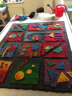 Felted, needled, and sewn embeller Wet Felting Projects, Felting Tutorials, Felted Wool Crafts, Felt Crafts, Nuno Felting, Needle Felting, Felt Wall Hanging, Felt Pictures, Crazy Patchwork