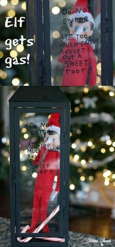 Gassy elf! Find OODLES of great ELF IDEAS here: https://www.mamacheaps.com/elf-on-the-shelf-ideas