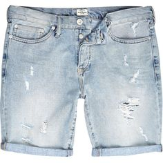 River Island Light wash ripped slim denim shorts (185 NOK) ❤ liked on Polyvore featuring mens, men's clothing, men's shorts and sale