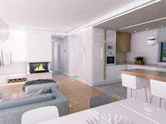 salon kuchnia 1 – WOJSZ studio – projektowanie wnętrz, Gdynia, Sopot, Gdańsk, Trójmiasto, Warszawa, architekt wnętrz, aranżacja wnętrz, projektant wnętrz, biuro projektowe, projekt wnętrz, architekt wnętrz, projekt wnętrz, projekt wnętrz on-line Modern Kitchen Interiors, Home Decor Kitchen, Home Kitchens, Living Room With Fireplace, Cozy Living Rooms, Home Living Room, Loft Design, Küchen Design, Design Case