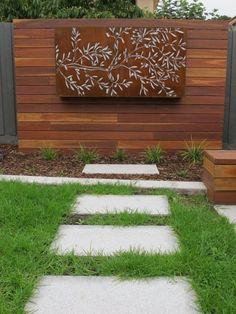 Olive tree corten steel light panel by Lump Sculpture Studio