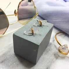 """Rebecca Minkoff Clear Spike Stud Earrings Details: • Gold plated metal and clear glass stones • Post back • .75"""" L • NWT   05271610 Rebecca Minkoff Jewelry Earrings"""
