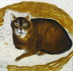 Elizabeth Blackadder, 1995, 'Abyssinian Cat in a Basket', Etching.