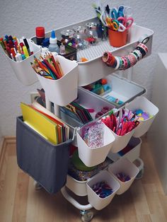RÅSKOG serving trolley - white - IKEA- RÅSKOG Servierwagen – weiß – IKEA Now it& getting neat in the children& room: Our craft cart Marry Kotter - Craft Room Storage, Craft Organization, Storage Spaces, Kids Art Storage, Storage Ideas, Kids Playroom Storage, Children Storage, Small Playroom, Doll Storage