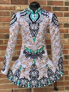 Divine White Rising Star Designs Irish Dance Dress Solo Costume For Sale