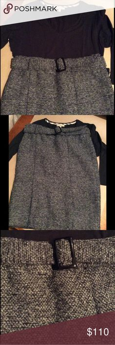 NWOT Cynthia Rowley thick wool skirt NWOT never worn. Grey and black tweed thick wool skirt. This hits at the knee, has a matching tweed belt. Cynthia Rowley Skirts