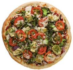 Drag It Thru The Garden Pizza :Fresh mushrooms, green peppers, red onions, artichoke hearts, broccoli, vine ripe tomatoes, fresh basil, tomato sauce, Cheddar, and mozzarella  from Extreme Pizza in Westwood #Food #Salad #Pizza forked.com