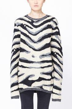 Yohji Yamamoto Men's Zebra Print Crewneck Sweater (Black)