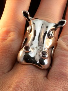 hippopotamus Ring Henrietta Hippo Ring Silver Hippo by martymagic Shandi would love!!!! Love you Gal!