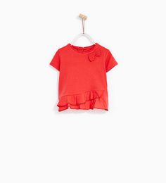 T-SHIRT WITH BOW AND FRILLS from Zara.  Baby and toddler girl clothes. 3 month - 4 year sizes.