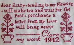 cross stitch patterns baby girl sampler   Claras Redwork Sampler 1912 Cross Stitch The Sampler Girl   eBay