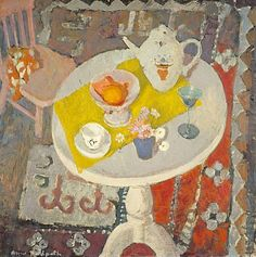 Anne Redpath (Scottish, 1895 - 1965), Still Life with Teapot on Round Table, oil on board, 1945. This still life was painted in Redpath's home in Hawick. Following the tradition of artists like Matisse and Vuillard Redpath's paintings are intimate portrayals of her own domestic setting.