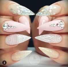 Baby pink mandala nails