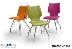 Kleurrijke eetkamerstoel Diamond II-F. Leverbaar in 6 verschillende ledersoorten en vele stofsoorten.  #design #eetkamer #furniture #dining #chair #modern