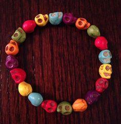$12 Multicolored Howlite Skull Head Stretch Bracelet