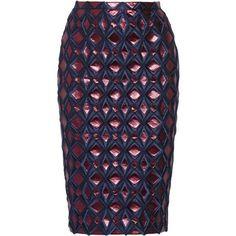 Burberry Prorsum Purple Metallic Brocade Pencil Skirt ❤ liked on Polyvore
