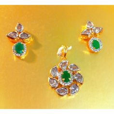 Jadau polki ad pendent set , jade, better than real - Online Shopping for Pendants by Awesome Jewellery