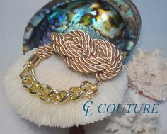 Light Gold Nautical Silk Rope Infinite Knot Bracelet by CLCouture