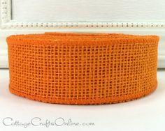 "Orange wired burlap ribbon, 1 1/2"" wide, 10 yard roll, 100% natural jute by Morex Ribbons."
