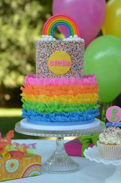 Rainbow Ruffle And Sprinkles Cake It Is Rainbow Cake On The Inside As Well Rainbow, Ruffle and Sprinkles cake. It is rainbow cake on the. Trolls Birthday Party, Rainbow Birthday Party, Birthday Cake, Troll Party, Birthday Ideas, 7th Birthday, Pretty Cakes, Cute Cakes, Bolo Neon