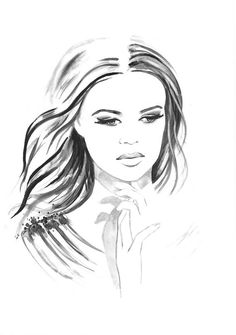 Original Watercolor Fashion Illustration Modern Art Black and White Portrait Painting titled Tenderness