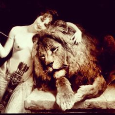 Girl on lion naked 13