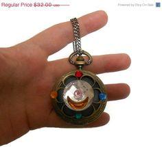 Sailor Moon Brooch Compact Pocket Watch Necklace by KingsfieldInn