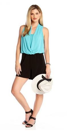 Super Cute! Black and Turquoise Romper + Straw Hat Fedora #Black_and_Turquoise #Romper #Spring #Break #Fashion #Outfit #Ideas