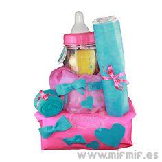 "Tarta de Pañales ""Pink-Turquoise Cake"" disponible en http://www.mifmif.es"