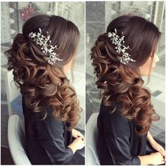 22 Perfectly Gorgeous Down Hairstyles for Prom - Style My Hairs Curly Wedding Hair, Long Hair Wedding Styles, Elegant Wedding Hair, Wedding Hair Down, Wedding Hairstyles For Long Hair, Wedding Hair And Makeup, Bridal Hair, Hair Makeup, Bridesmade Hairstyles