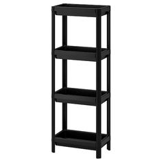 IKEA - VESKEN, Shelf unit, black, Assemble the shelf unit quickly and easily without any tools by clicking the parts together. The shelf has a high edges on all sides and keeps everything in place. Perfect in a small bathroom. Wall Shelf Unit, Sink Shelf, Bathroom Shelves, Wall Shelves, Small Bathroom, Bathrooms, Bathroom Cabinets, Shelf Units, Bathroom Black