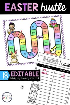 This editable sight word game is a great way to get your early learners practicing their sight words! We have a editable game no matter what holiday is coming up so you can get your students excited! In this image, we feature our Easter hustle game. A perfect spring and Easter activity for kids! Easter Activities For Kids, Spring Activities, Kids Crafts, Kindergarten Literacy, Literacy Activities, Literacy Centers, Sight Words List, Sight Word Games, Magic E Words