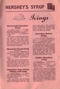 VintageChocolate Cream Icing  (Uncooked)     2 tablespoonfuls HERSHEY'S Syrup . . . 1/2 teaspoonful vanilla . . . 2 tablespoonfuls thick cream . . . 1/8 teaspoonful almond extract . . . XXXX confectioners' sugar.    * Mix the cream and Hershey's Syrup together with the extracts, then gradually add XXXX confectioners' sugar to make of the right consistency for spreading over the surface of a cold cake.