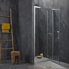 Produit:Porte de douche                                                                                                           Coloris des profilés:Aluminium aspect chromé                                                                                                           Accès à la douche:Ouverture de face                                                                                        ...