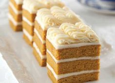 These Triple-Layer Pumpkin Cakes are enhanced by the bright, unique flavors of Orange–Cream Cheese Frosting. Pumpkin Cakes, Pumpkin Recipes, Fall Recipes, Holiday Recipes, Pumpkin Dessert, Just Desserts, Dessert Recipes, Mini Desserts, Party Recipes