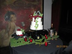 Greenery on cake table