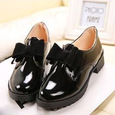 Patent Leather Oxford Shoes For Women Vintage British Style Bow Women Oxfords Autumn Flat Shoes Woman Sping Autumn Platform Shoe