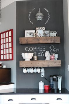Coffee Bar Ideas - Looking for some coffee bar ideas? Here you'll find home coffee bar, DIY coffee bar, and kitchen coffee station. Kitchen Desks, New Kitchen, Kitchen Shelves, Kitchen Cabinets, Basement Kitchen, Kitchen Small, Coffee Nook, Coffe Bar, Coffee Shops