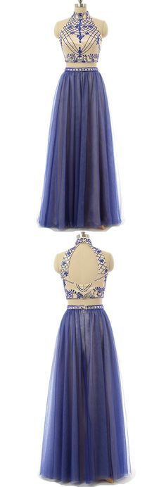 Long Prom Dresses , Two Piece High Neck Floor-length Prom Dress with Unique Beadwork
