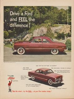 "Description: 1949 FORD vintage print advertisement ""Drive a Ford and FEEL the difference !""""Take the wheel ... try the FEEL ... at your Ford dealers today !"" Size: The dimensions of the full-page advertisement are approximately 11 inches x 14 inches (28cm x 36cm). Condition: This original vintage advertisement is in Very Good Condition unless otherwise noted ()."