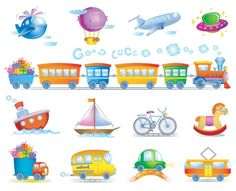 XOO Plate :: 13 Cartoon Transport Vector Icons Set - 13 Cute colorful cartoon transport icons set - train, car, bicycle, boat, bus, plane - EPS.