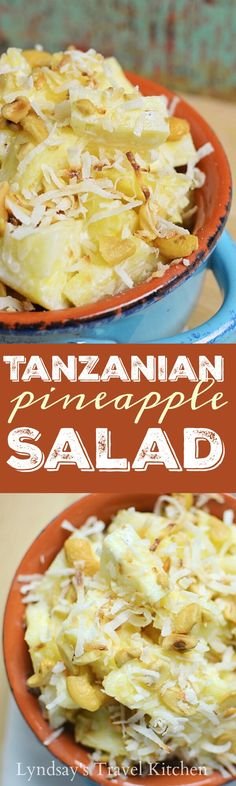 Pineapple Salad with Cashews and Coconut [Tanzania] – Lyndsay's Travel Kitchen Learn how to make this Tanzanian Pineapple Salad with pineapple, cashews, and coconut. This African recipe is great for picnics and a side dish. Served with a rum sauce. Side Dishes Easy, Side Dish Recipes, Fish Recipes, Appetizer Recipes, Recipies, Pineapple Salad, Pineapple Recipes, West African Food, Healthy Salad Recipes