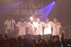 Emre Can,Rapper Cro, Lukas Podolski, Rapper Dajuan und Jonas Hector presenting the new DFB kit for the Euro Cup