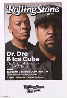 A great poster of Dr Dre and Ice Cube - The Original Gangstas of NWA - on the cover of Rolling Stone Magazine! Fully licensed - 2015. Ships fast. 22x34 inches. Need Poster Mounts..? su4467 td14467