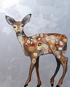 "Fawn with Jeweled Spots in Metallic Gray Lavender 2011 oil and mixed media on recycled wood 23.75"" x 29.25"" @ Eli Halpin with pearls, mica, sparkles, gold leaf and crushed glass"