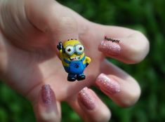Despicable Me Nail Art - A little 3D Minion on my thumb! I know there are Minion nails all over the place, but I had to have a go too because they are just sooo cute! www.facebook.com/KayleighOCNailArt