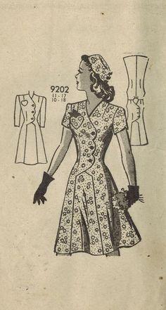 1940s Mail Order 9202 Vintage Sewing Pattern por midvalecottage, $18.00