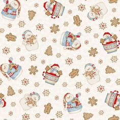 Cocoa & Cookies Flannel Snowman Toss In Cream - By Shelly Comiskey For Henry Glass Fabrics Christmas Sewing, Noel Christmas, Christmas Paper, Christmas Wrapping, Christmas Crafts, Xmas, Christmas Scrapbook Paper, Papel Scrapbook, Chicken Painting